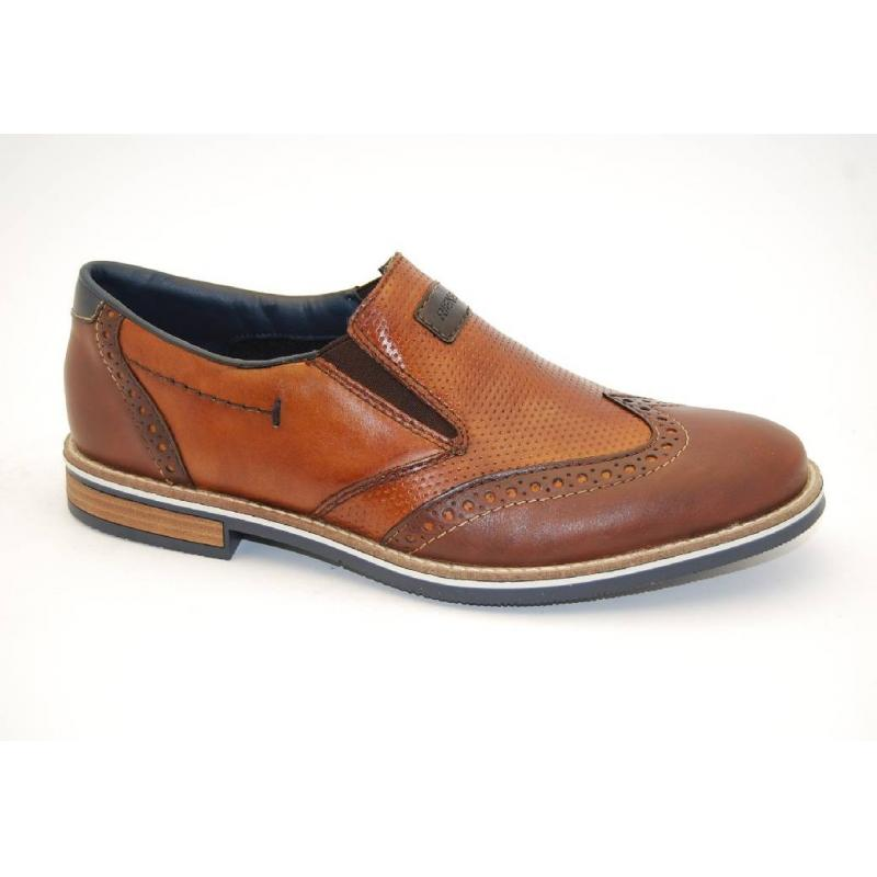 RIEKER brun slipon brogue